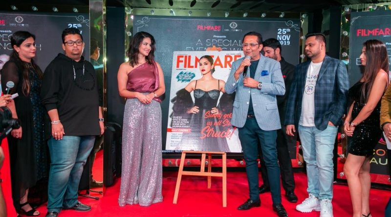Sunny Leone unveils the cover page of Filmfare magazine's December issue